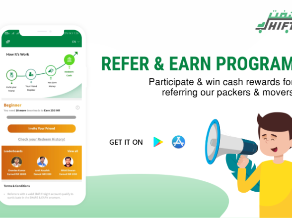 REFER & EARN PROGRAM: Participate & win cash rewards for referring our packers & movers
